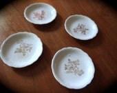 Four Porcelain Butter Pats // Gold Floral Design