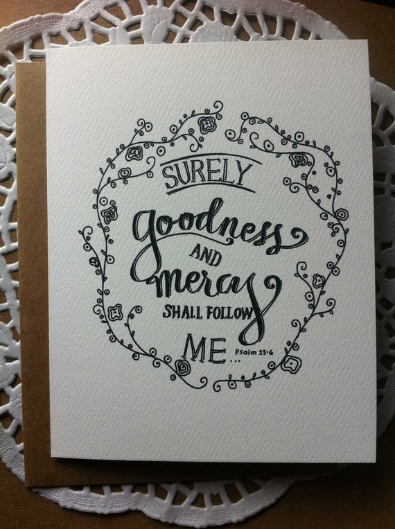 Surely Goodness - Paper Goods - Blank Notecard - Kraft Envelope - Encouragement - Christian Card - Hand Typography - Christian Art
