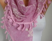 Pink Embroidered Tasselled Scarf Spring Scarf Shawl Cowl Scarf Gift For Her Women's Fashion Accessories