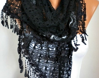 Black Filet & Lace Scarf,Wedding Shawl Bridesmaid Gift Gift Ideas For Her Women's Fashion Accessories