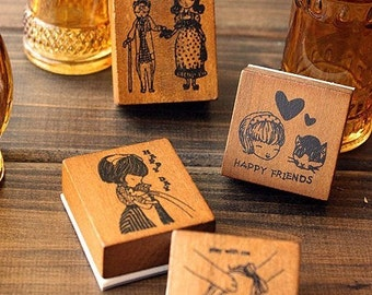 Wooden Rubber Stamp - Vintage Print Style -Pretty Cute Cat And Girl Card Sets