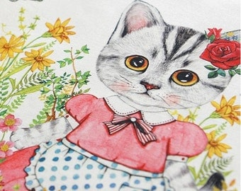 Cotton Linen Fabric Cloth -DIY Cloth Art Manual Cloth-Farm Cat  55x16Inches