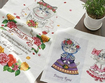 Cotton Linen Fabric Cloth -DIY Cloth Art Manual Cloth-Wedding Cat  55x16Inches