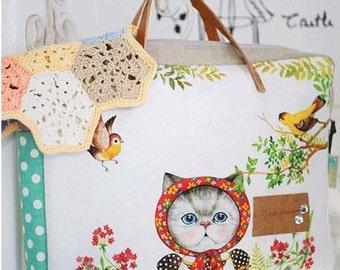 Cotton Linen Fabric Cloth -DIY Cloth Art Manual Cloth-Farm Cat  55x16Inches