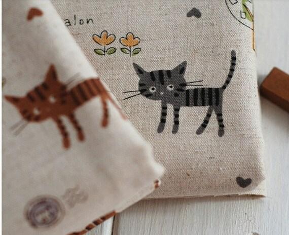 Cotton Linen Fabric Cloth -DIY Cloth Art Manual Cloth -Cat Travel Around World   55x19 Inches