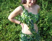 forest fairy/ nymph/ Eve/ poison ivy costume with leggings hundreds of silk leaves