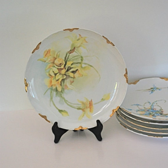 Vintage Plate Limoges H&Co France Yellow Flower