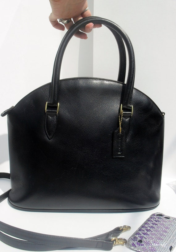 RESERVED For Michi Reserved ---Vintage COACH Madison --Authentic Coach --Black Pebbled Leather Dr --Bowler Bag HUGE