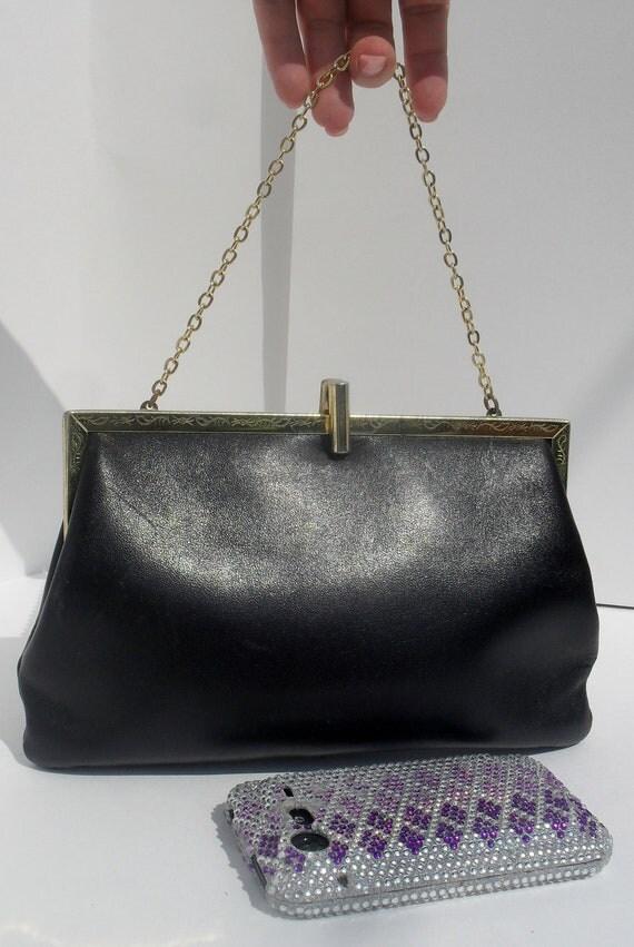 Very Cool ANTIQUE --Black Leather Evening Bag--Ornate Scrolling On Metal Frame