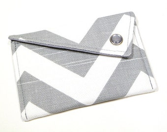 Business Card Holder - Grey White Chevron Card Case Graduation Gift