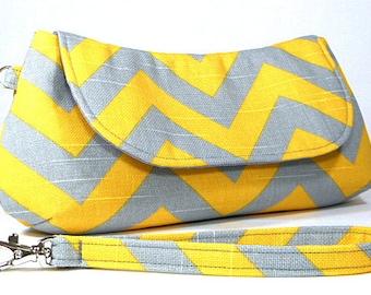 Clutch Purse - Grey Yellow Chevron Fold Over Clutch, Bridesmaids Clutch