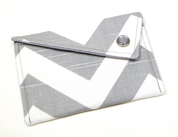 Business Card Holder - Grey White Chevron