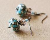 Turquoise White Dot Lampwork Earrings