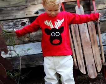 Christmas Applique T-Shirt - Rudolph Reindeer Applique Shirt- You Choose Sleeve Length and Shirt Color