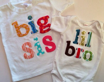 Big Sis Lil Bro Shirt Set - Sibling Shirts -Perfect for Family Pics, Pregnancy Announcement, Baby Shower Gift - Choose Color & Sleeve Length