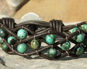 Woven Leather and bead bracelet cuff with African Turquoise beads
