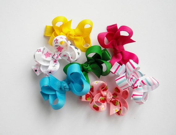 Custom Set of 10 Small Twisted Boutique Bows - 73 Colors/Prints - Boutique Bows - Small Baby Bows - No Slip Grip Bows - Custom Bows