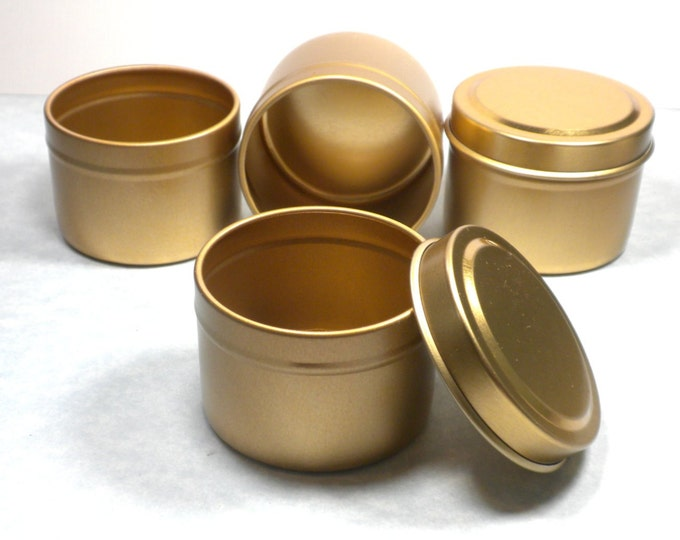 Gold Round Tin with Lid - 2 ounces Circle - Use for Wedding Favors Candles or Gifts - Seamless and Food Safe - 20