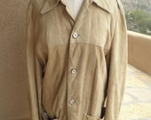 Tan suede leather jacket with horn buttons size small mens medium womens