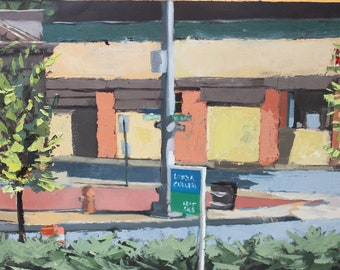 Original Oil Painting - Baltimore City North Ave. Loyola Sign