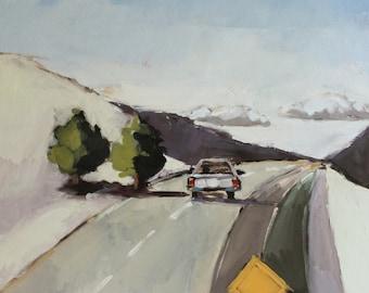 Original Oil Painting - Landscape Highway in Winter