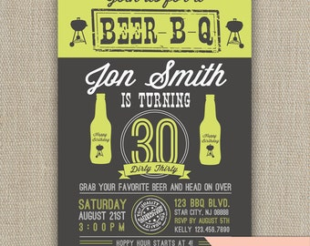 Beer BBQ - 21st, 30th, 40th, 50th Birthday Party Invitation - any age -