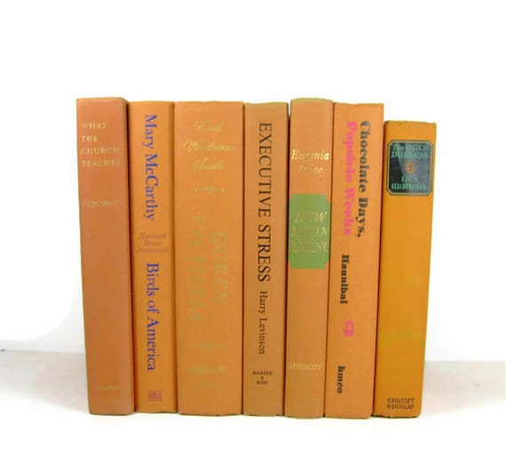Pumpkin Orange Decorative Books, Vintage Photo Props, Vintage Wedding Decor