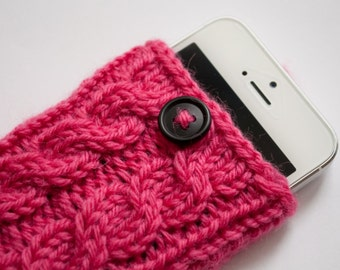 Popsicle Pink Double Cable Knit Phone Case (iPhone 3/4/4S/5/5S/5C/6/6+/7/7+)