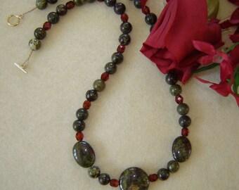 Dragon Blood Jasper Gemstone Beaded Necklace  FREE SHIPPING