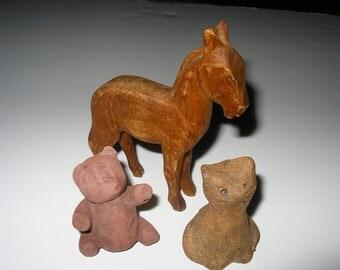 Vintage Animal Grouping Teracota Wood Stone SALE PRICED NOW