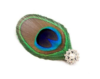 Fair - Peacock feather hair clip / Peacock hair clip / Feather hair accessory