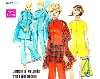 1960s Bust 34 UNCUT Misses Jumpsuit Bodysuit with Skirt and Stole Scarf Shorts Pants c 1969 60s Butterick 5453