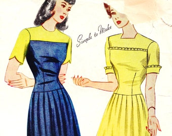 1940s Bust 32 UNCUT Misses Dress Short Sleeve Scallop Ruffle Pleated Skirt Yoke Vintage Sewing Pattern Simplicity 4846 c 40s