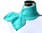 Aqua scarf 50s style retro ascot bow tie hand knit scarfs neck warmer in fluffy aqua