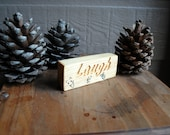 Laugh Carved Wood Sign - Reclaimed Wood