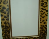 Picture Frame Mat Leopard Cheetah Jaguar Animal Print  with brown liner mat 8x10 for 5x7 Photo or Art Rectangle Cutout