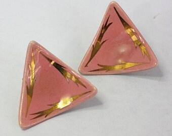 Vintage 50s Modern Earrings Pink Porcelain H Painted Earrings Clip Backs
