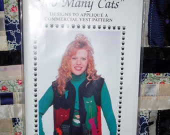 1989 Too Many Cats Applique Vest Pattern 8901 by Debora Konchinsky