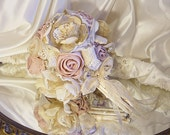 """Vintage Cottage Style Bridal Bouquet handmade of distressed fabrics, lace and hand painted all natural handle. """"READY TO SHIP"""""""