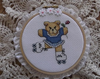 Cross Stitch Bear on Roller Skates Hoop Lace Finished Completed Piece Framed Handmade