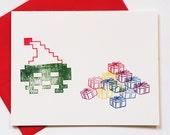 8 Bit Christmas Morning, set of 4 retrogaming holiday cards