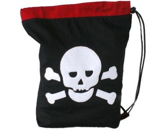 Skull drawstring school sports gym pe bag
