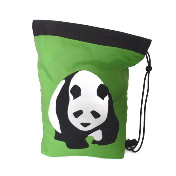 Lime green Panda drawstring / PE bag