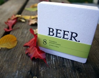 BEER. Coasters (Black), modern beer design (Letterpress, 3.5 inches) set of 8, perfect gift