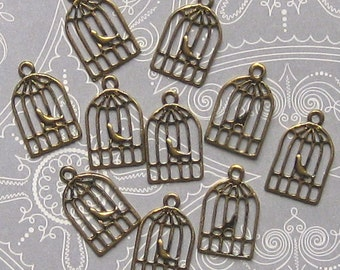 10 Birdcage Charms Antique Gold Tone Dainty and Cute - GC051