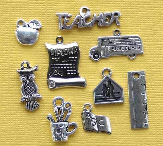 School Charm Collection Antique  Silver Tone 9 Different Charms - COL73