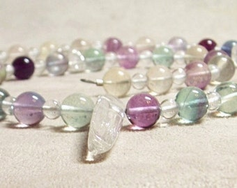 SALE/Fluorite Crystal Point Necklace