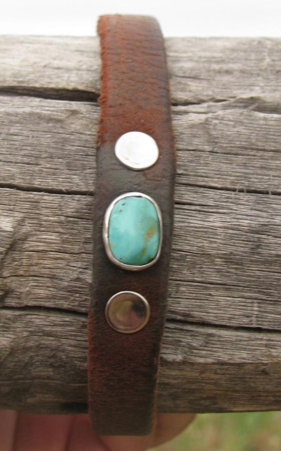 vintage harness leather cuff bracelet with kingman  turquoise stone sterling silver