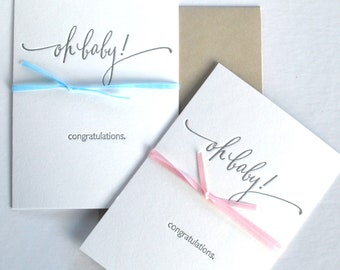 Letterpress Card-Oh Baby Congratulations