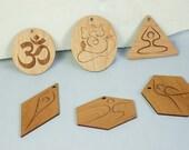Wood Yoga Inspired Ornament Set Laser Engraved